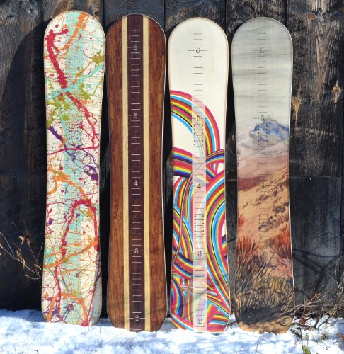 Wooden Snowboard Growth Chart | Wall Hanging Wood Height Chart for Kids, Boys, Girls - Splatter