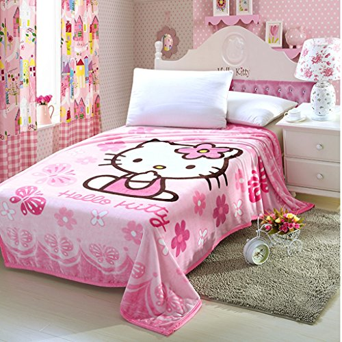 Warm Embrace Childrens Blankets series Cute Flowers Butterfly HELLO KITTY Flannel Blanket