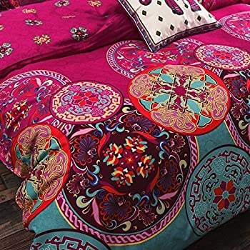 Vaulia Lightweight Microfiber Duvet Cover Set, Bohemia Exotic Patterns Design, Bright Pink - Full/Queen Size