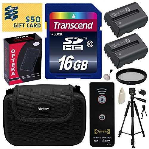 Beginner's Accessories Bundle Kit for Sony Alpha A57, A58, A65, A77, A99, A100, A200, A300, A350, A450, A500, A550, A560, A580, A700, A850, A900 includes 16GB Class 10 SDHC Memory Card + Pack of 2 Replacement (1800mAh) NP-FM500H Battery + AC/DC Rapid Home Wall and Travel Charger with Car and European Adapter + Professional 60
