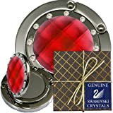 25 Chatt Red & Swarovski pp24 Crystal, FOLDING Mirro Purse Hooks, Pouches, gift Boxes