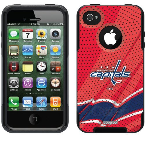 Washington Capitals® - Home Jersey design on a Black OtterBox® Commuter Series® Case for iPhone 4s / 4 at Amazon.com