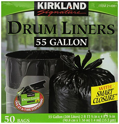 Kirkland Signature Smart Closure Technology Trash Wraps, for 55 Gallon, 50 Count