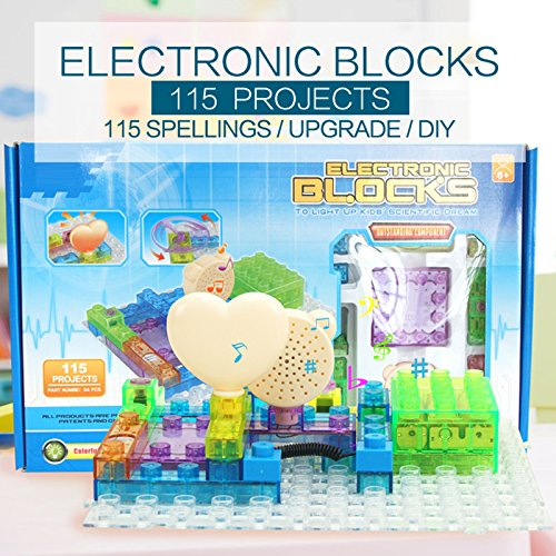 Circuit-Kit-With-Lighted-Bricks-34pcs-115-Different-Projects-in-1