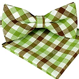 ST34 Brand New Cotton Mens Bow tie and Pocket square Set-Vatious Colors (BB-963 (Green and Brown Plaid))