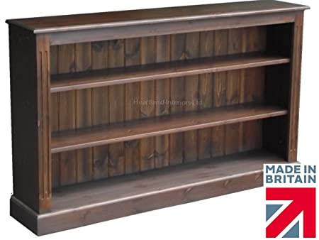 Low Pine Bookcase, 5ft Wide, Handcrafted & Waxed Bookshelves, Choice of Colours, No flat packs, No assembly (BK07)