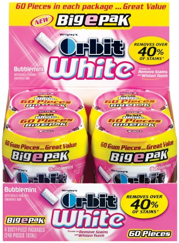 Orbit White Big E Bubblemint 60 Piece Bottles Pack of 4B001D3NXYS : image