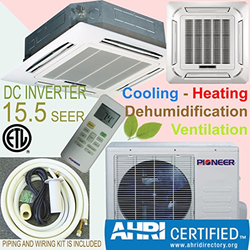Pioneer 8-Way Ceiling Cassette Split Inverter Air Conditioner with Heat Pump, Mini (Pioneer Mini Split Inverter compare prices)
