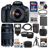 Canon EOS Rebel T5 Digital SLR Camera Body & EF-S 18-55mm IS II with 75-300mm III Lens + 32GB Card + Case + Flash + Battery + Tripod + Kit