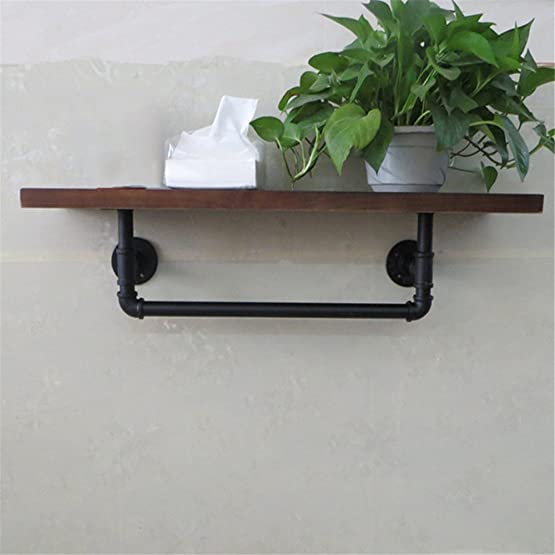 XIXI Retro-Iron Pipe Wall Hanging Racks-Tier Cucina in legno e bagni Rack Shelf Rack Admit