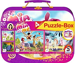 Schmidt Spiele 55988 - Mia & Me, Puzzle-Box, 2 x 60 Teile, 2 x 100 Teile, im Metallkoffer