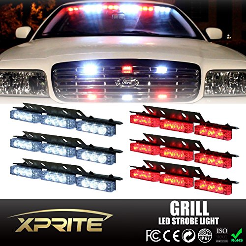 Xprite 54 LED Emergency Vehicle Strobe Warning Lights/Lightbars For Deck Dash Grill Windshield Headliner (White & Red) (Headliner Lights compare prices)