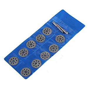 Diamond Cutting Wheels, Baowox 10pcs 22mm Cut Off Discs with Mandrels Set Kit Cuts for Dremel Rotary Tools Metal Stone Glass Cutter Masonry Saw Blades