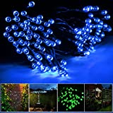 Lychee® Solar Powered String Light 55ft 17m 100 LED Solar Fairy Light String For Garden,Outdoor,Home,Christmas Party Decoration (Blue)