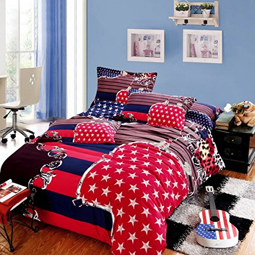 Lt Queen King Size 100% Cotton Thickening Sanded Soft 4-Pieces Usa American Flag Prints Duvet Cover Set/Bed Linens/Bed Sheet Sets/Bedclothes/Bedding Sets/Bed Sets/Bed Covers/5-Pieces Comforter Sets (4, King) front-646626