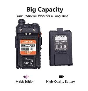 2 Way Radio Set Baofeng UV-5R Radio MK4 8 Watt MP Max Power with Baofeng Battery 1800 mAh Li-ion and Programming Cable for Baofeng UV5R Radios Mirkit Edition, USA Warranty (Color: 2pc Black Baofeng UV-5R MK4+cable)