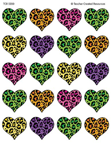 Teacher Created Resources Leopard Print Heart Sticker (5200)