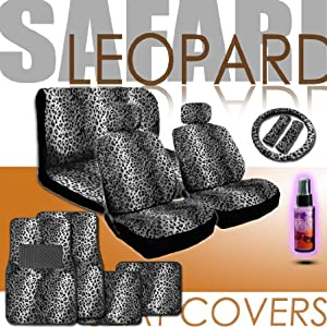 16 Pieces Safari Snow Leopard Print Low Back Front Car Seat Covers, Rear Bench Cover, Seat Belt Covers, Steering Wheel Cover, 4 Pieces Carpet Floor Mats and a 2 oz Purple Slice Car Wash Free Detailer/Multipurpose Cleaner by CEL International Group Inc.