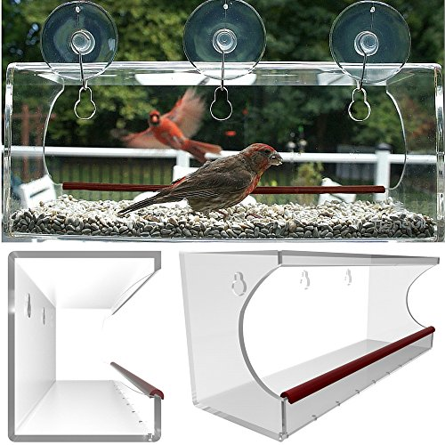 Tranquil Acrylic Window Mounted Bird Feeder with 3 Suction Cups and Hooks, Large, Clear (No Visitors For Bear compare prices)