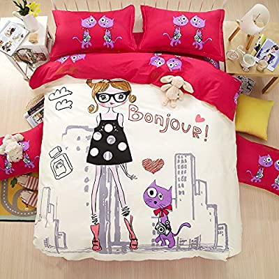 TheFit Paisley Bedding for Adult U131 Bonjour Girl and Cat Duvet Cover Set 100% Cotton, Queen Set, 4 Pieces