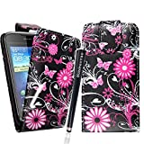 MobileExtraLtd® For Huawei Ascend G300 Stylish Printed Design New Butterfly PU Leather Magnetic Protected Flip Case Cover + Stylus