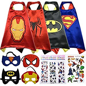 Superhero Cape and Mask Costumes For Kids SET - 4 Capes, 4 Masks, Stickers and Tattoos