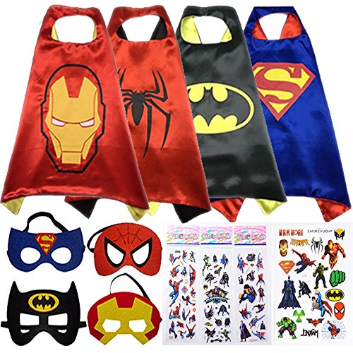 Superhero Cape and Mask Costumes For Kids SET- Capes, Masks Stickers and Tattoos