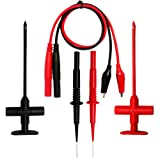 AideTek auto Test Clip Set Insulation Piercing Needle Tipped tip multimeter Probes red Black Banana Test Leads TP50SETPLUS (Tamaño: TP50SETPLUS)