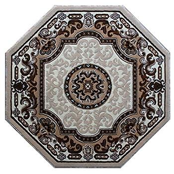 Traditional Octagon Area Rug Design Kingdom D 123 Ivory (4 Feet X 4 Feet) Octagon
