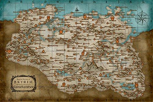 "CGC enorme-Poster The Elder Scrolls V Skyrim Mappa PS3PS4Xbox 360One-eds028, Carta, 16"" x 24"" (41cm x 61cm)"