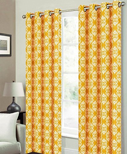 Mustard Yellow Kitchen Curtains: Luxurious Damask Floral Medallion Print Grommet Curtain