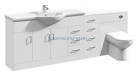 2100mm Modular High Gloss White Bathroom Combination Vanity Basin Sink Cabinet, Four Drawer Cupboard, WC Toilet Furniture & BTW Pan