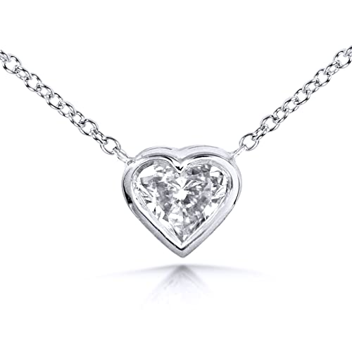Heart-Shaped Bezel Set Diamond Solitaire Necklace