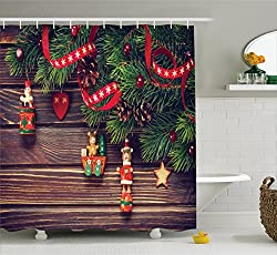 Christmas Bathroom Accessories by Ambesonne, Christmas Shower Curtain Brown Rustic Wood Backdrop December Old Fashioned Christmas Time Theme Jesus Ribbon, Polyester Fabric Set with Hooks, Green Brown