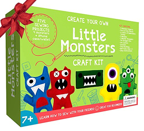Little monsters beginners sewing kit awesome gift for for Craft toys for kids