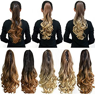 "Neverland Beauty 20""(50cm) Ombre Two Tone Long Big Wavy Claw Curly Ponytail Clip in Hair Extensions"
