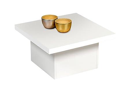 """Alfa-tische M2540 tavolino da salotto """"happy"""", 70 x 70 cm, piastra per aprire, decorato bianco"""