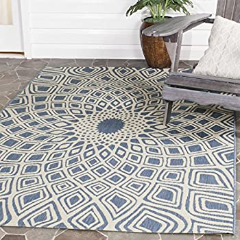 "Safavieh Courtyard Collection CY6616-23321 Blue and Beige Indoor/ Outdoor Square Area Rug (67"" Square)"