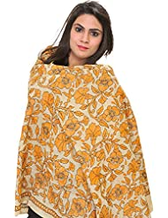 Exotic India Cloud-Cream Kantha Dupatta With Embroidered Flowers By - Off-White