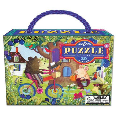 Eeboo Bear on a Bike Jigsaw Puzzle, 20 Pieces