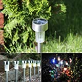 E-THINKER Colorful Outdoor Garden Stainless Steel Solar Landscape Pathway Lights Lamp - Pack of 10 pcs (White)