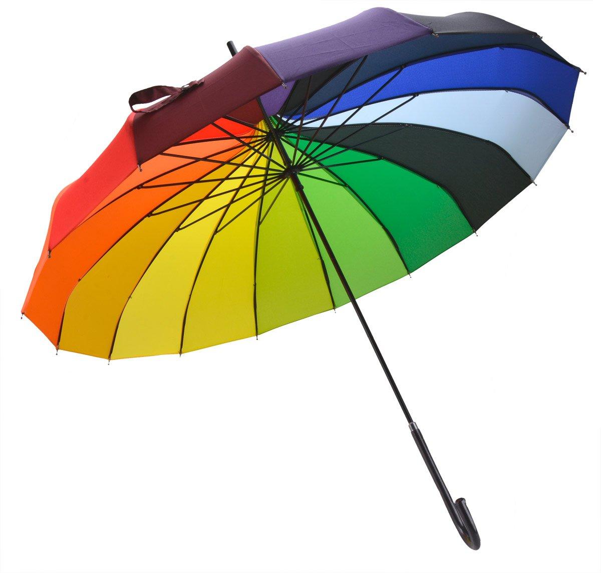 OUTGEEK Rainbow Umbrella Pagoda Long Handle Vintage Windproof Umbrella Parasol 2