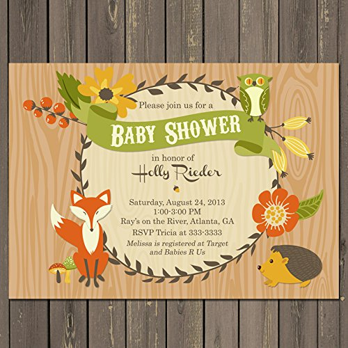Woodland Baby Shower Invitations, Forest Animal Baby Shower Invitation, Fox Baby Shower Invitation, Gender Neutral Shower (Forest Baby Shower Invitations compare prices)