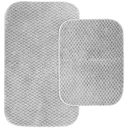 Garland Rug 2-Piece Cabernet Nylon Washable Bathroom Rug Set, Platinum Gray