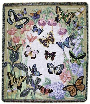 "Chromatic Butterflies Are Free Tapestry Throw Blanket 50"" X 60"" front-946908"
