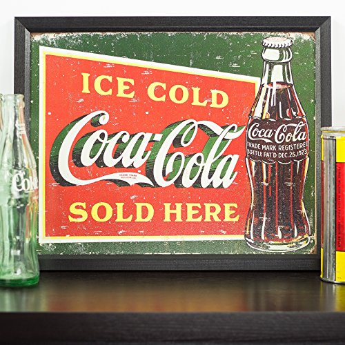 Vintage Ice Cold Coca-Cola Tin Sign, 12.5-Inch by 16-Inch, Distressed Appearance, Framed in .84-Inch Wide Black Picture Frame 1
