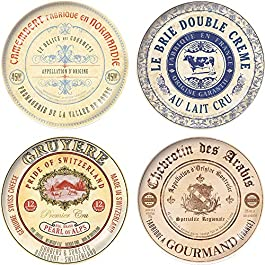 Set Of 4 Gourmet Cheese Porcelain Side Plates In Hat Box