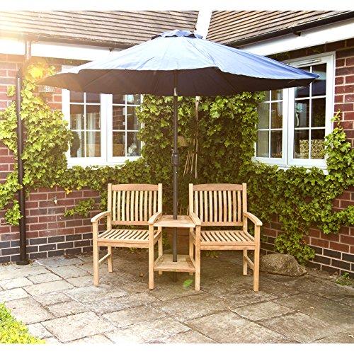 Charles Bentley Garden Teak Wooden Companion Seat Set Love Seat Jack and Jill Bench