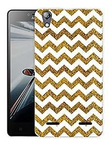 "Humor Gang Chevron Glitter Pattern - Gold Printed Designer Mobile Back Cover For ""Lenovo A6000 - A6000 PLUS"" (3D, Matte, Premium Quality Snap On Case)"