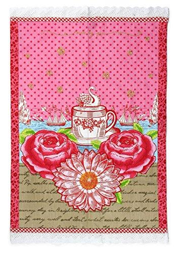 "Pip Studio Pink Sunflower Tea Towel Kitchen Dish Towel - 20"" X 28"""